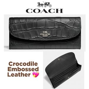 NEW Coach Crocodile Embossed Leather Wallet
